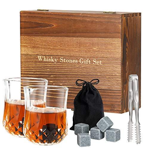 Esyhomi Whiskyglas Geschenkset mit 8 Whiskey Steine,2 Whiskey Gläsern, Zange & Holz Geschenkbox - Eiswürfel Wiederverwendbar