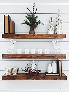 New England Wood Crafters Wooden Floating Shelves - Wall Decor for Home Kitchen Bathroom Bedroom - Rustic Pine Custom Office Organizer with Mounting Brackets - Set of 3  7.5x1.5  Special Walnut 36