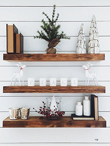 New England Wood Crafters Wooden Floating Shelves - Wall Decor for Home Kitchen, Bathroom, Bedroom - Rustic Pine Custom Office Organizer with Mounting Brackets - Set of 3 (7.5x1.5)(Special Walnut, 36)