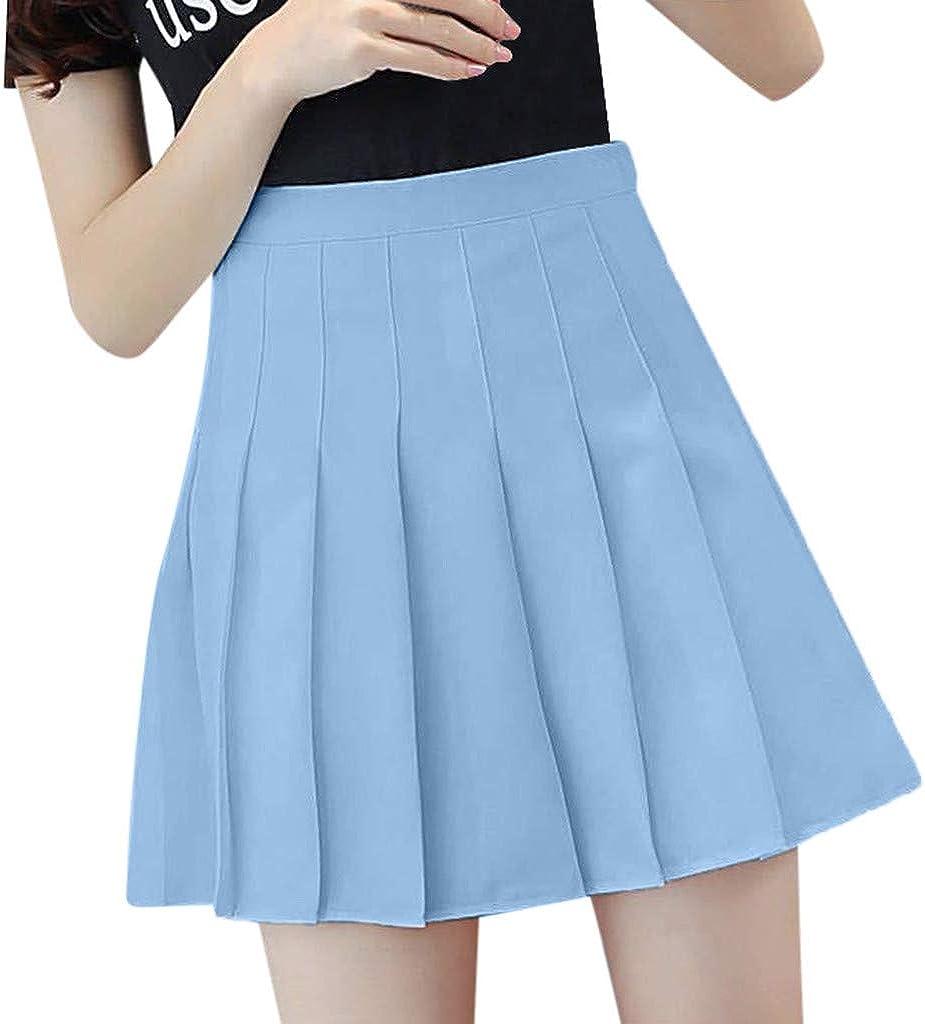 IKDXUF Women's Solid Color Pleated Mini Skirt High Waisted Elastic Skirt Casual Skater Skirt A-line Short Skirt Summer
