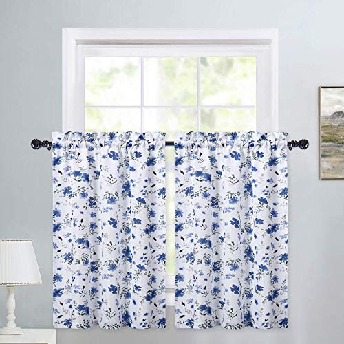 욕실용 하퍼레어 주방 커튼 해군 블루 테일러 수채화 꽃무늬 작은 층 커튼 꽃잎 패턴 농가 카페 커튼 세트 욕실 창가 커튼 27 W X 30 L 2세트