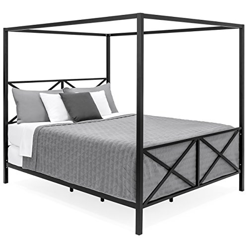 Mattress Support Black No Box Spring Needed DUMEE Queen Size Metal Canopy Bed Frame with Headboard and Footboard Four Posters Platform Bed Frame