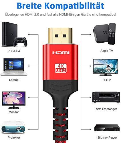2meter HDMI 4K Kabel 2Stück, Snowkids 4K@60HZ HDMI 2.0 Kabel 18Gbps HDMI Nylon Geflochten mit Audio-Rückkanal, Ethernet, HDR, Kompatibel mit Ultra HD Video 2160p, Full HD 1080p, PS3, PS4 - Rot