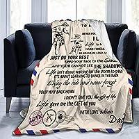 私の息子への手紙毛布柔らかく暖かいファジーキルト息子のためのお父さんエアメール毛布ヒーリングとポジティブフランネル毛布は抱擁キャンプ旅行昼寝誕生日のためのフリース毛布ギフトを奨励し、愛します125cm x 100cm