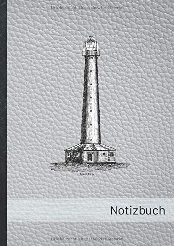 "Notizbuch: blanko Notizheft \""Leuchtturm silber\"" • A4-Format, 100+ Seiten, Soft Cover, Register • Original #Lighthouse • Blank Notebook • Perfekt als Skizzenbuch, Matheheft, Schulheft, Übungsheft"