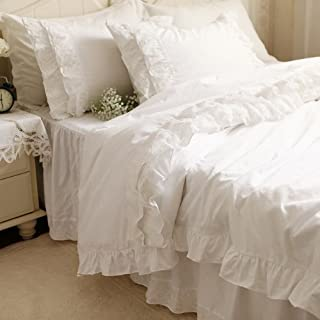 FADFAY White Lace Ruffle Bedding Sets Elegant and Shabby Duvet Cover Set with Bedskirt 4-Pieces Exquisite Craft 100% Cotton 60 Fabric Count Hypoallergenic Zipper Closure Queen Size