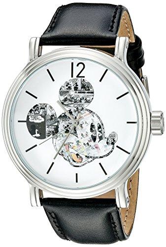 Disney W002323 Mickey Mouse Reloj negro con movimiento de cuarzo y visualización analógica, para hombre