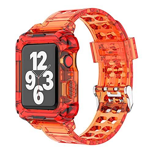 AISPORTS Compatible con correa de Apple Watch de 40 mm y 38 mm con funda, transparente y suave, silicona de TPU resistente, funda protectora con correa para Apple Watch SE/iWatch Series 6/5/4/3/2/1
