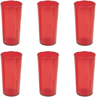 NEW, 20 oz. Restaurant Tumbler Beverage Cup, Stackable Cups, Break-Resistant Commmerical Plastic, Set of 6 - Ruby Red