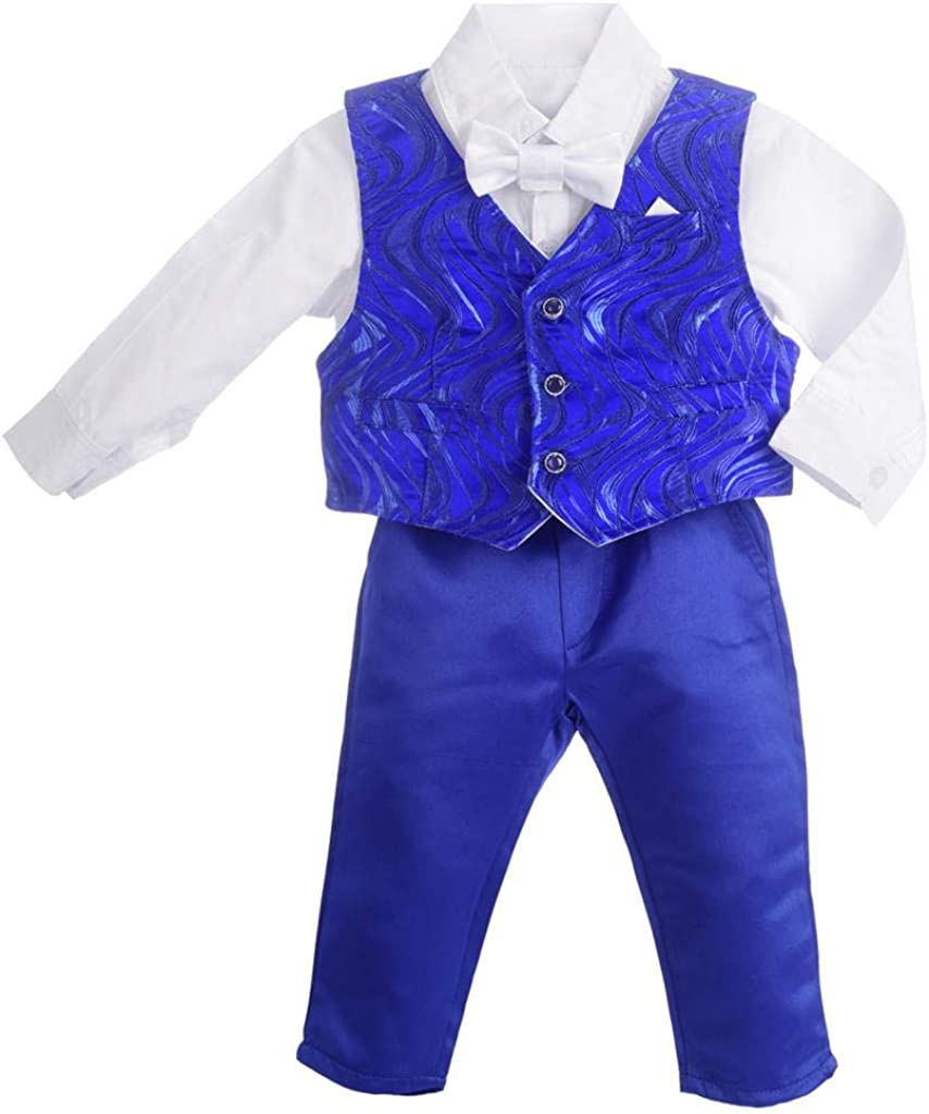 Dressy Daisy Baby Boy Suit Gentleman Wedding Outfit 4 Piece Formal Dress Wear Wave Long Sleeve