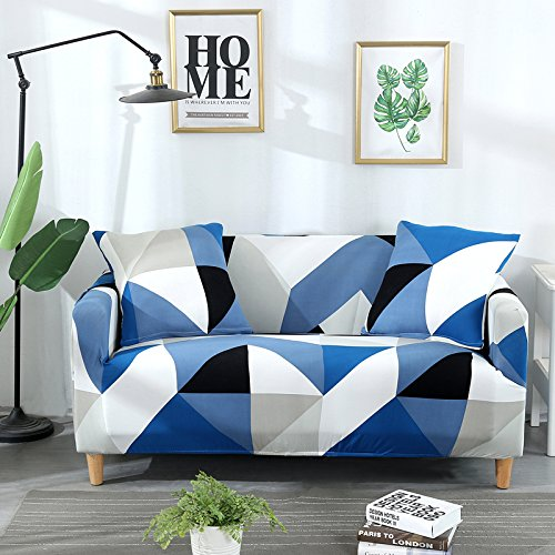 Couch Cover Stretch Sofa Slipcover - Fitted Sofa Cover Stylish Loveseat Slipcover Sectional Couch Covers with 2 Pillow Cases Spandex Sofa Covers for 3 Cushion, Blue Diamond-4 Seater/Large 3 Seater