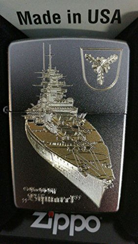 Zippo Schlachtschiff Bismarck - Satin Finish - Diamantgravur Sturmfeuerzeug, Chrom, Silber, 5.8 x 3.8 x 1.8 cm