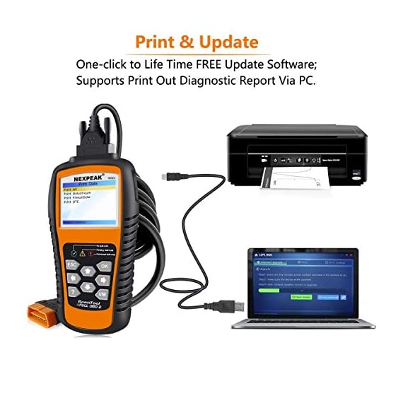NEXPEAK OBD2 Scanner NX501 Enhanced OBD II Auto Code Reader Car Diagnostic Scan Tool Vehicle Check Engine Light Analyzer… 7 【Professional Vehicle Code Reader】 NEXPEAK NX501 is an enhanced auto scanner that you can NOT ONLY check all engine related fault codes, find out what caused the check engine light comes on, turn-off Malfunction Indicator Lamp (MIL), locate bad O2 sensor, but also can monitor car battery health status, remind you when the battery need to be replaced. It's a perfect scan tool helps you to determine if your car need to be repaired and avoid blind maintenance, saves your time and money. 【Wide Array of Compatibility】 Accurately read and erase error codes on all OBD2 protocol vehicles with a 16 PIN interface (KWP2000, ISO9141, J1850 VPW, J1850 PWM and CAN). The NEXPEAK NX501 is compatible with most US vehicles that are model year 1996 or later – including sedans, SUVs, light trucks, and 12V diesels. This is a plug-and-play engine diagnostic code reader (both generic and manufacturer specific codes) – no extra batteries or apps required. 【NOT ONLY Full OBD2 Function】 All 10 modes OBD2 diagnostic function including: read and erase fault codes, retrieve I/M readiness and freeze frame data. Unique graphical forms to display live sensor data, Auto VIN acquisition, O2 Sensor and EVAP Test (Mode 8), Advanced On-board Monitoring (Mode 6). This auto analyzer can not only reveal what error codes your car is producing, but also monitor the battery voltage at all time during OBD car diagnostic, reminds you when having an aging battery