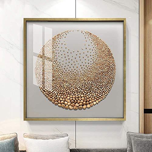 LCSD Pintura decorativa de 60 x 60 cm, moderna combinación triple de pinturas tridimensionales, entrada de restaurante, pintura de piedra dorada pintada para pared
