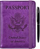 HERRIAT Passport Holder Cover Case RFID Blocking Travel Wallet Card Case for Women Man(Purple)