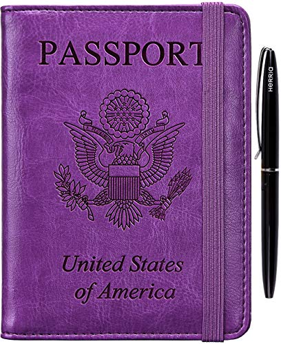 RFID Passport Holder Cover-leather Anti-theft Travel Wallet Card Case Document Organizer with Pen for Women Men(Purple)