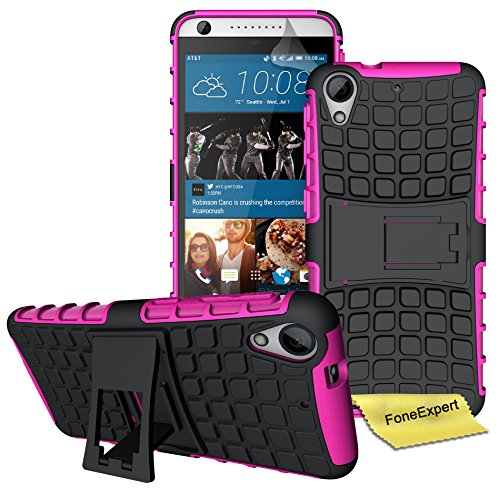 HTC Desire 626 626G Handy Tasche, FoneExpert® Hülle Abdeckung Cover schutzhülle Tough Strong Rugged Shock Proof Heavy Duty Case für HTC Desire 626 626G + Displayschutzfolie (Rosa)