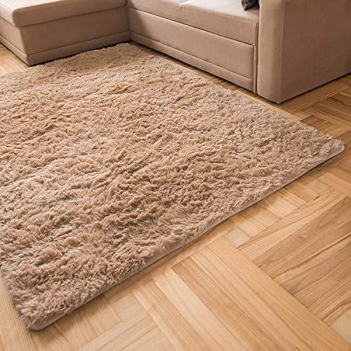Inyear Tappeto a pelo lungo per il soggiorno, adatto per camera da letto e cameretta dei bambini, morbido e moderno tappeto antiscivolo 200 x 250 cm (beige chiaro)