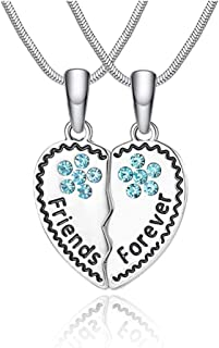 Double  Design Pendentif Collier amitié Strass Rose Creatif Gravé Lettre