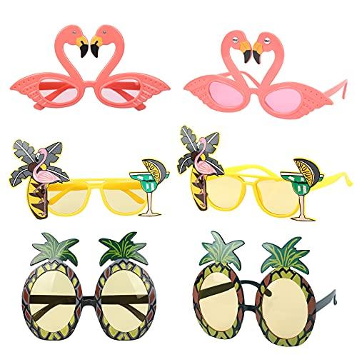 CHALA 6STK Hawaii Deko Foto Requisiten Flamingo Brille Sonnenbrillen Ananas Photo Booth Props Palmenblätter Tiki Bar Aloha Lustige Kostüm für Beach Sommer Party Dekoration