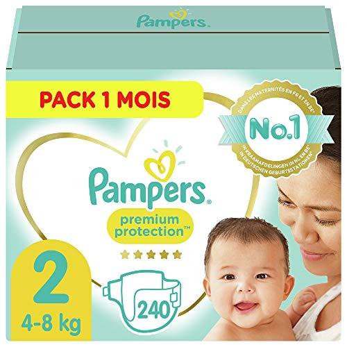 Pampers Couches Premium Protection Taille 2 (4-8kg) notre N°1 pour la protection des peaux sensibles, 240 Couches (Pack 1 Mois)