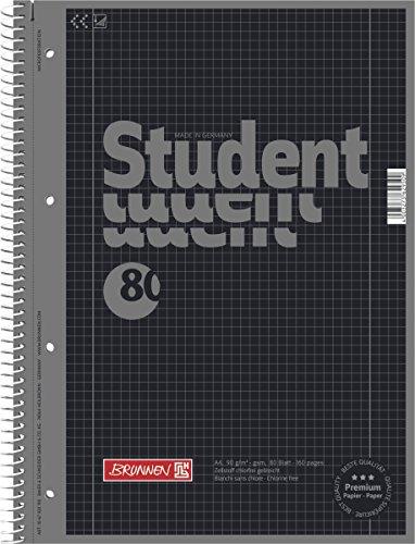 10 Collegeblöcke Student A4, Colour Code onyx, kariert (Lin. 28) 80 Blatt, 90g/m²