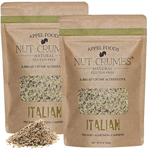 Appel Foods - Nut Crumbs - Bread Crumb Alternative - Gluten Free - Sugar Free - Low Carb - Low Sodium - Raw, Premium Nuts - Italian 2pk
