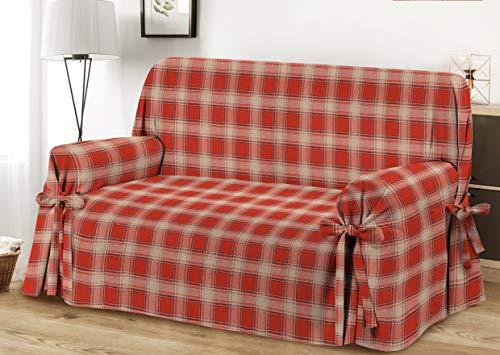 HomeLife – Cubre sofá de 2 plazas – Elegante Protector de sofás a Cuadros – Funda de sofá de algodón para Proteger del Polvo, Las Manchas y el Desgaste, Fabricado en Italia – Burdeos