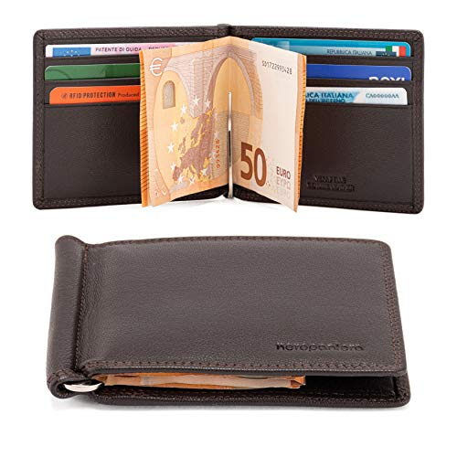 neropantera - Porta Carte di Credito e Banconote Tascabile dal design Slim Sottile in vera Pelle, RFID con Portatessere - Loreto