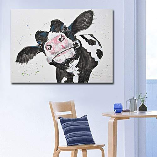 Bonita vaca Animal pintura lienzo impresión y cartel Vintage impresión personalizada imagen abstracta pared arte decoración del hogar 60x90 CM (sin marco)