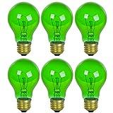 Sunlite 25A/TB/G/6PK Incandescent A19 25W Light Bulbs, Medium (E26) Base, 6 Pack, Transparent - Green, 6 Count