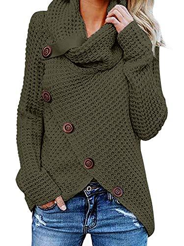 kenoce Jersey Mujer Jersey de Cuello Alto Mujer Jersey Grueso Pullover Jersey Jersey Dobladillo Asimétrico D-Verde Militar S