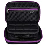 Soyan Carrying Case for Nintendo New 3DS XL and 2DS XL, with 16 Game Card Holders, Fits Wall Charger (Purple Zippers)