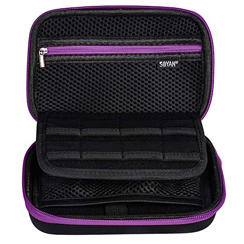 Soyan Carrying Case for Nintendo New 3DS XL and 2DS XL, with 16 Game Card Holders, Fits Wall Charger (Purple)