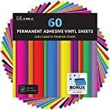 Kassa Permanent Vinyl Sheets (Pack of 60, 12 x 12) - Includes Squeegee - Bundle of Assorted Colors (Matte & Glossy) - Adhesive Craft Outdoor Vinyl for Cutting Machines