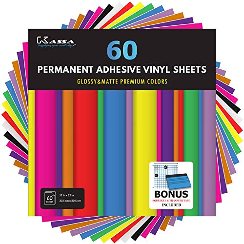"Kassa Permanent Vinyl Sheets (Pack of 60 - 12"" x 12"") - Includes Bonus Squeegee - Matte & Glossy Assorted Colors Bundle - Self Adhesive Vinyl Paper (Works with Any Die Cutting Machine)"