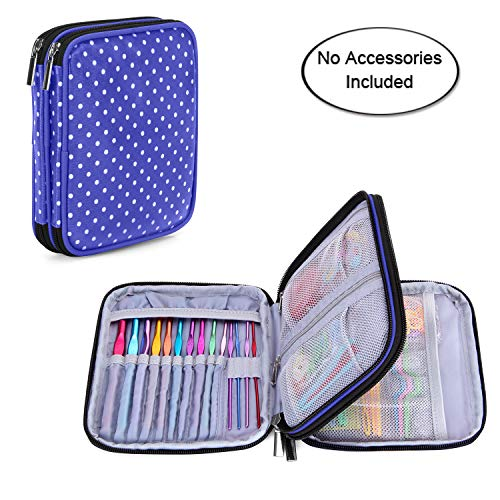 Teamoy Crochet Hook Case, Travel Storage Bag for Various Crochet Needles and Accessories, Lightweight and All in One Place, Easy to Carry, Purple Dots(No Accessories Included)