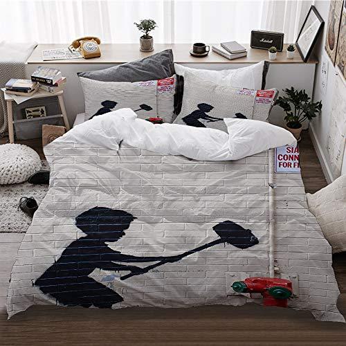 HATESAH bedding,Banksy Graffiti Art Hammer Boy Style Printing,Microfibre Duvet Cover Set(135x200cm) 2 Pillowcase 50X80cm