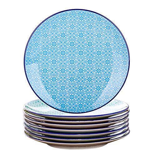 Vancasso Desserteller Porzellan, 8 teilig Kuchenteller bunt, Macaron Ø 21,5 cm Flachteller für Frühstück
