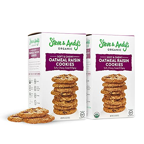 Steve and Andy's - Soft and Chewy All-Natural Oatmeal Raisin Cookies, Gluten Free Cookies for Dessert, No Corn Syrup, No Tree Nuts, Kosher, and Non Gmo (2 Pack)