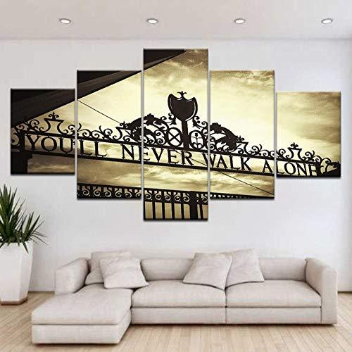 Zpyon 5 stücke HD Druck Leinwand Malerei Sport Liverpool Tor sie Werden nie alleine gehen Kunst Wohnkultur Wand Poster Modulare Bild-40x60cmx2 40x80cmx2 40x100cmx1