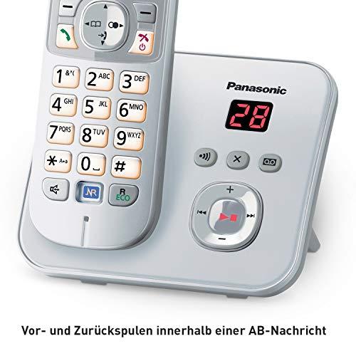 Panasonic KX-TG6822GS DECT Schnurlostelefon mit Anrufbeantworter (strahlungsarm, Eco-Modus, GAP Telefon, Festnetz, Anrufsperre, DUO) perl-silber