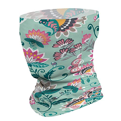Yilooom Turquoise Flower Blossom, Seamless Face Mask Bandanas, Unisex Face Scarf for Outdoor Dust Wind Sun Protection