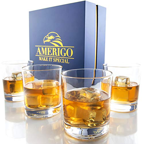 Amerigo Crystal Whiskey Glass Set of 4 in Luxury Gift Box - Heavy Base Old Fashioned Whiskey Glasses 12oz for Scotch - Whisky Gift for Men - Bourbon Glass Tumblers - Fathers Day Gift - Home Bar Set
