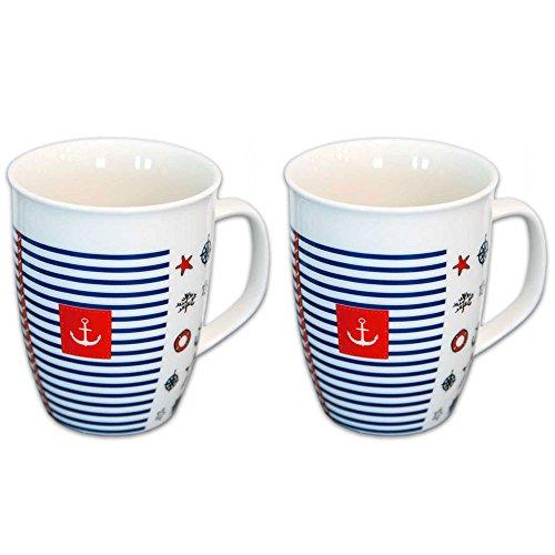 Tony Brown - Jumbo Kaffeetasse mit Henkel Maritim   520ml   weiß   Porzellan   Maritimes Muster (Design 2 2er Set)