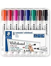 Staedtler Lumocolor 351 WP8 Whiteboard-marker (ronde punt ca. 2 mm lijnbreedte, set van 8 kleuren, hoge kwaliteit, droog en zonder resten afwasbaar van whiteboards