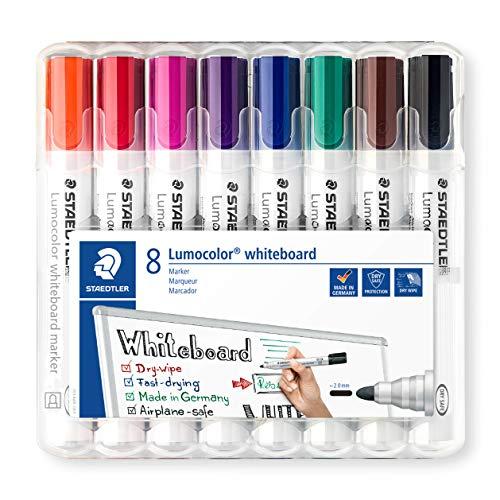 STAEDTLER 351WP8 Rotuladores para pizarra blanca Lumocolor, inodoro, secado rápido y recargable, paquete de 8 unidades, Multicolor