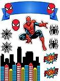 Decoración para tarta de cumpleaños con diseño de Spider-Man