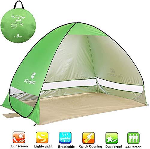 Ydq Tienda de Campaña, Instantanea Beach Tent, Toldo Sombrilla para Playa Acampar Pesca Senderismo Viaje Carpa, 3-4 Personas,Verde