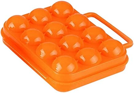 Preisvergleich für JUNGEN 12 Eier Aufbewahrungsbox Eier Halter Portable Box Eierpflege Outdoor Picknick Eier Box, Orange